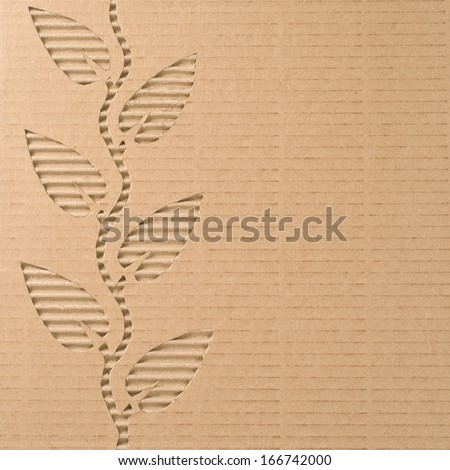 Plant with leaves cut out on a corrugated cardboard   - stock photo
