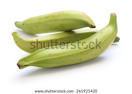 plantain banana on white background - stock photo