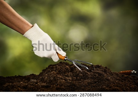 Planting a plant on a pile of soil on green bokeh background - stock photo