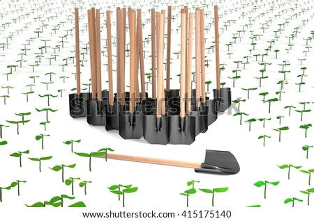 Planting sprouts with many shovels 3d illustration - stock photo