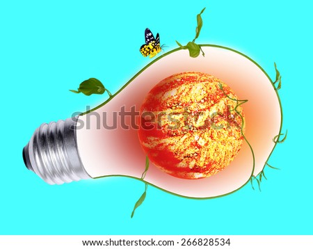 Planting trees to help reduce global warming inside light bulb. elements furnished by NASA - stock photo