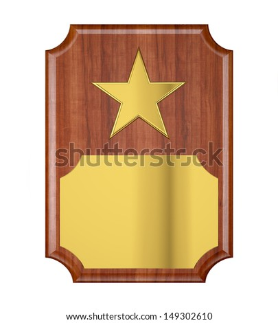 Plaque with Gold Star - stock photo