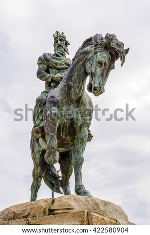 "Plasencia, Spain - March 15, 2016: Statue equestre Alfonso VIII of Castile, called ""the Las Navas"" or ""the Noble"" king of Castile defeated the Almohad in the battle of Las Navas de Tolosa in 1212"
