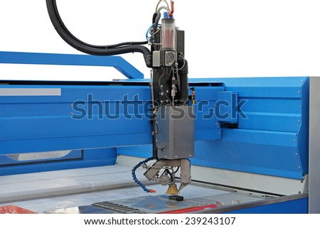 Plasma cutter CNC machine in workshop