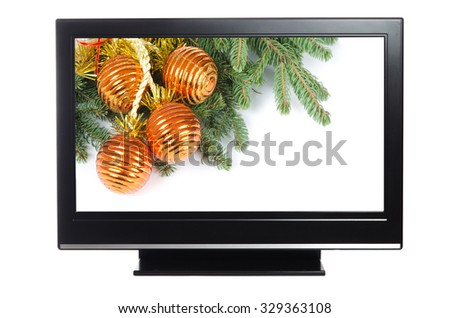 plasma or lcd television with Christmas decoration