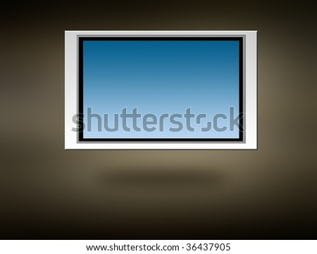 Plasma screen over grey background. space to insert your text or design - stock photo