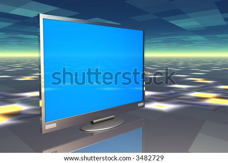 Plasma television on reflective surface