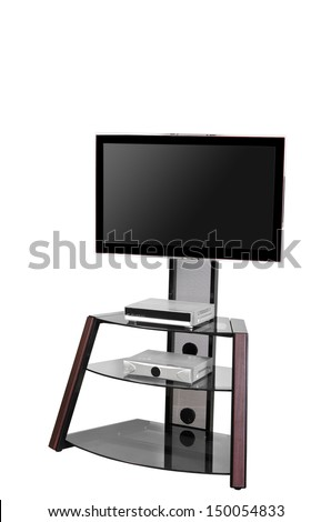 Plasma TV on a stand isolated on white background