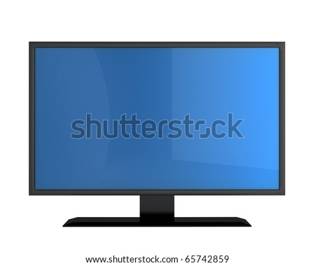 plasma TV with empty screen for your text isolated on white background - stock photo