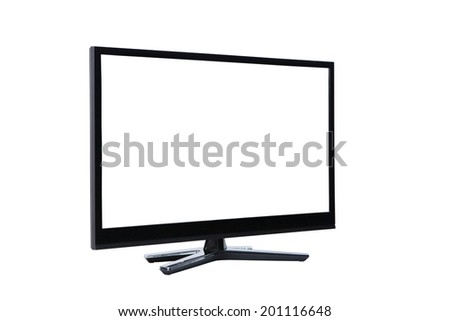 plasma wide screen led lcd tv monitor isolated on white - stock photo