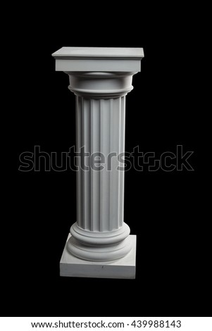 plaster column on a black background