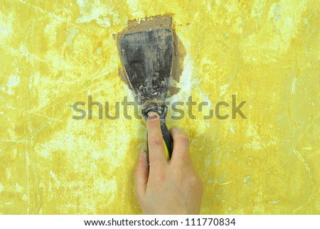 plaster filling wall repair - stock photo