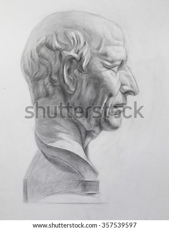 Plaster head academic drawing