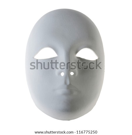 Plaster Venetian mask on white