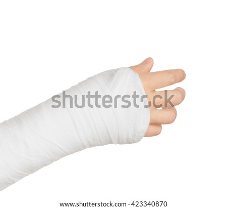 plastered hand holding something on a white background                         - stock photo