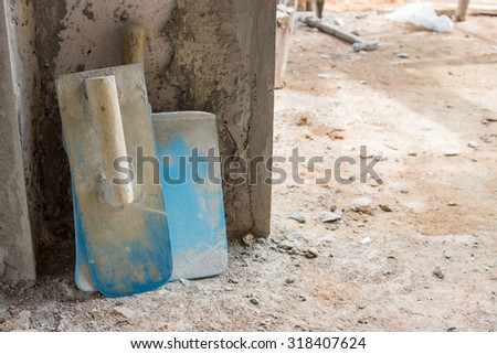 Plastering construction work - stock photo