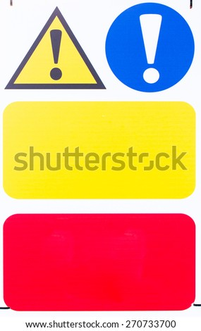 Plastic and moisture covered sign for warning cyclists - stock photo