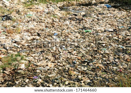 plastic and trash pollution  - stock photo