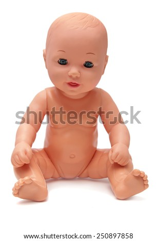Plastic Baby Doll on Isolated White Background - stock photo