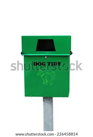 plastic bag dispenser for dog poo on white background - stock photo