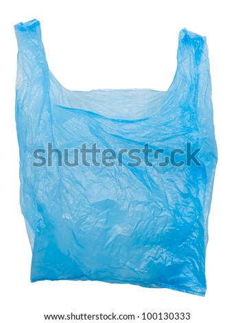 Plastic bag empty. Plastic bags are the cause of major environmental concerns. Object is isolated on white background without shadows.
