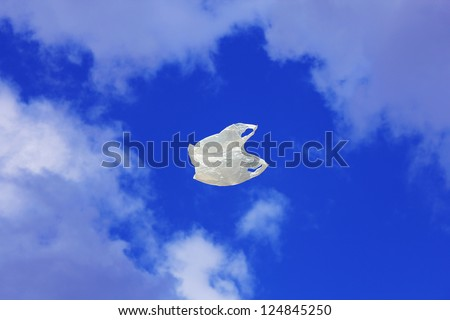 Plastic Bag on Sky - stock photo