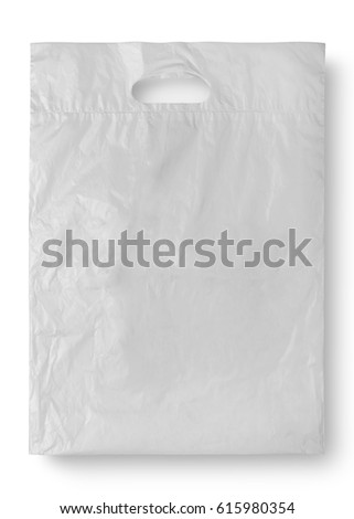 Plastic bag on white and shadow with clipping path