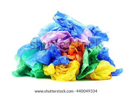 Plastic bags isolated on a white background - stock photo
