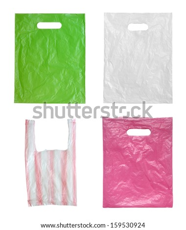 Plastic bags isolated on white background. - stock photo