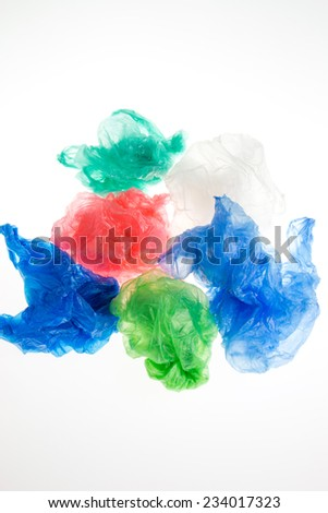 Plastic bags on white background