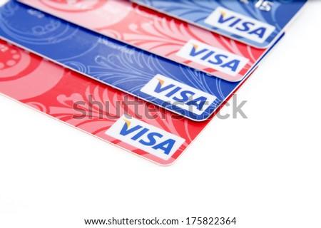 Plastic  bank cards. - stock photo