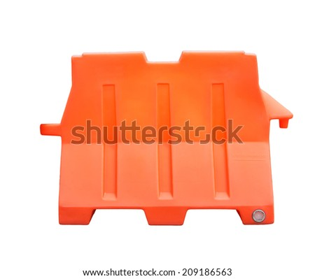 Plastic barriers blocking the road isolated on white background with clipping path