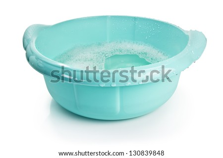 plastic basin with water, clipping path included - stock photo