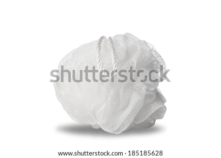 plastic bath puff isolated on white - stock photo