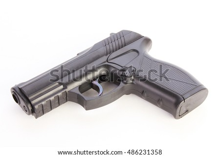 Plastic BB Pistol passes for real large-caliber handgun.  White background with copy space.
