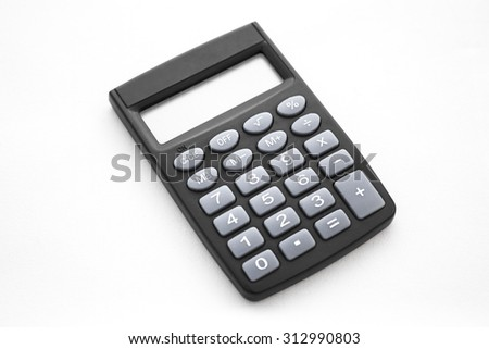 plastic black calculator on the white background