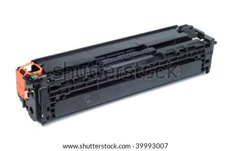 Plastic black printer cartridge consumables operating supply isolated with clipping path over white - stock photo