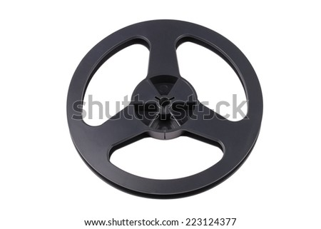 Plastic Black Tape Recorder Bobbin Isolated