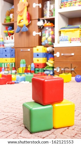 plastic blocks in room for children