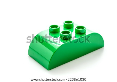 Plastic blocks toy isolated on white