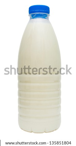 plastic blue bottle milk isolated on white background (clipping path) - stock photo
