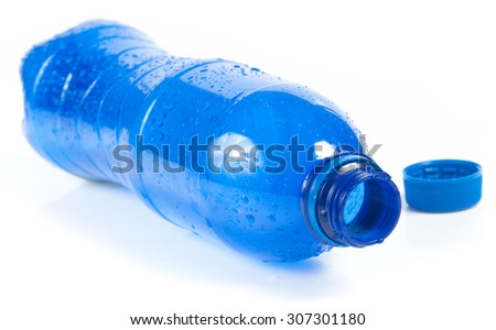 Plastic blue bottle the drink water, selective focus - stock photo