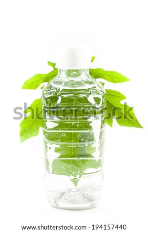 Plastic bottle Clean drinking water On white background - stock photo