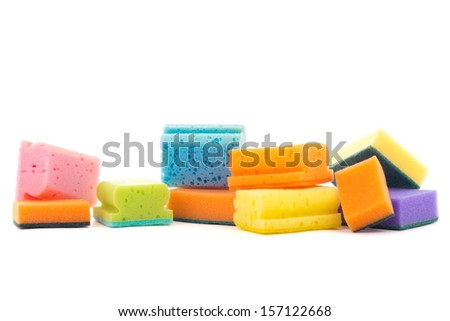 plastic bottle, cleaning sponges and gloves isolated on white background - stock photo