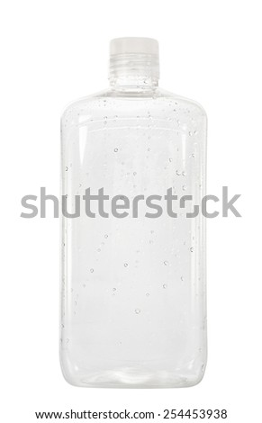 Plastic bottle container with water drop isolated on white background. - stock photo