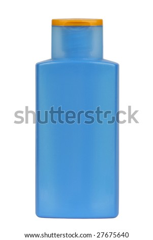 Plastic bottle for sunscreen, lotion, soap, shampoo, etc. Isolated on white. Clipping path included.
