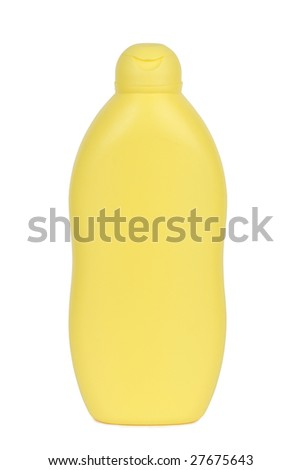Plastic bottle for sunscreen, lotion, soap, shampoo etc. Isolated on white. Clipping path included. - stock photo