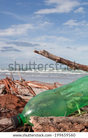 plastic bottle litter among driftwood on an otherwise pristine surf beach in New Zealand  - stock photo