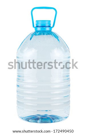 Plastic bottle of clear cold drinking water isolated on white  - stock photo