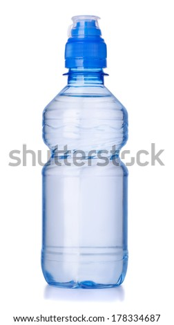 Plastic bottle of clear water isolated on white